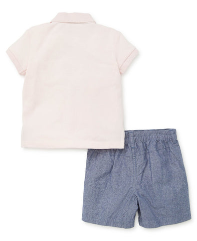 Anchor polo toddler short set