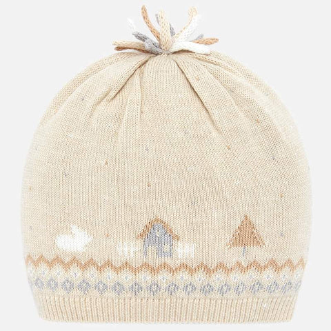 knitted hat with patterned houses