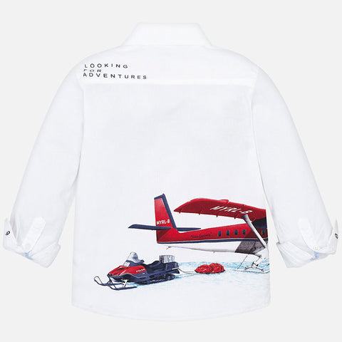 Long sleeve shirt with patterned seaplane