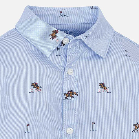 Long sleeve shirt patterned with horses