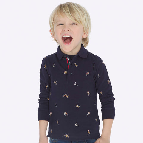 Long sleeve polo patterned with horses