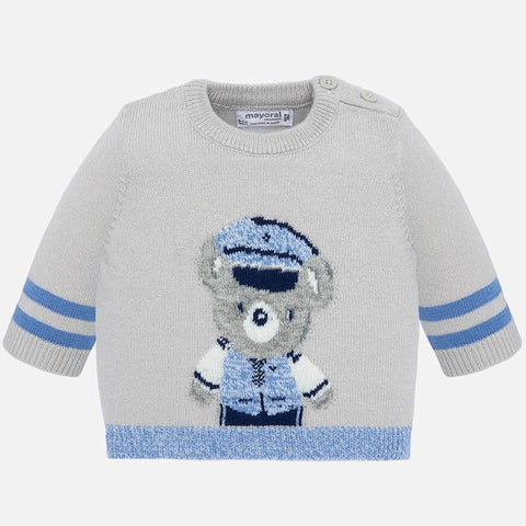 Knit sweater with patterned bear