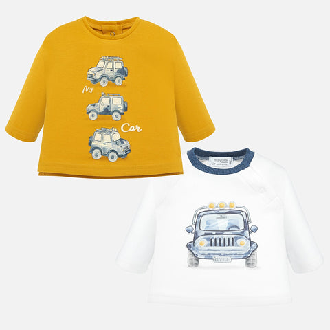 Long sleeve t-shirt set patterned with cars