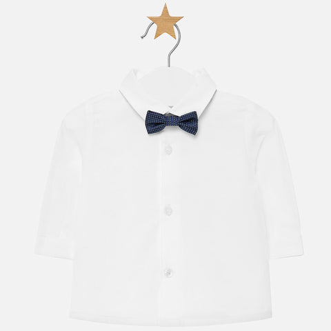 Long sleeve baby boy shirt with blue bowtie