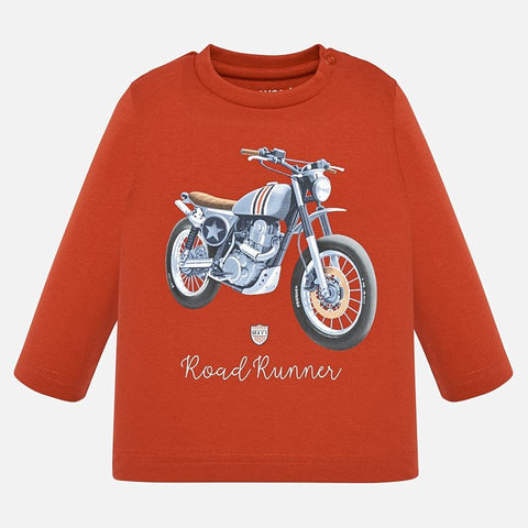 Long sleeve boy t-shirt patterned with a motorcyle