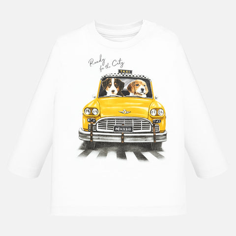Long sleeve t-shirt patterned with yellow taxi
