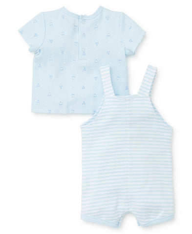 Romper with sailboat printed and t-shirt