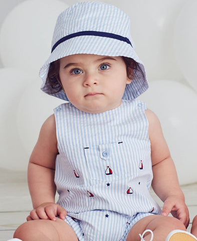 Striped blue romper with sailor print and hat