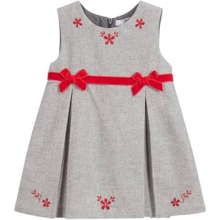 Sleeveless flannel dress embroidered with flowers for girls