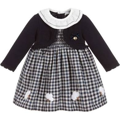 Gingham dress with cardigan with ruffles collar embroidery