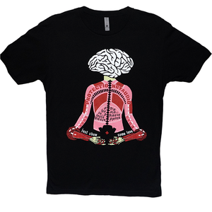 Death By Audio Protection By Audio black t-shirt. Multi-color silkscreen featuring mediating brain and body. Text states Protection By Audio and Please Just Show Some Love.