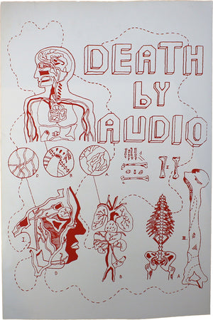 LIFE BY AUDIO HAND SILKSCREENED POSTER (RED INK on WHITE)