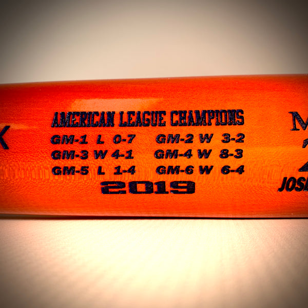 2019 American League Champs Commemorative Bat- Houston