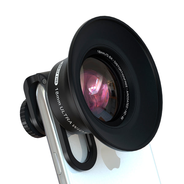 distortionFREE Wide-Angle Phone Lens, Lens Hood and Filter Mount, Aluminum Bracket - STUFF 4 CAMERA