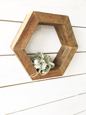 Reclaimed Wood Hexagon Shelf