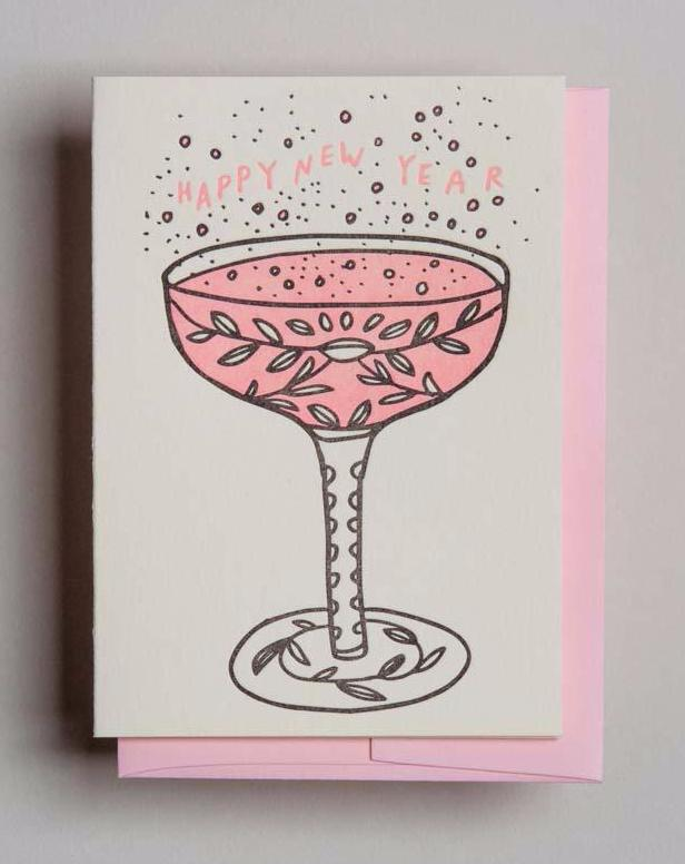 Letterpress happy new year card - Champagne- by Wolf and Wren Press