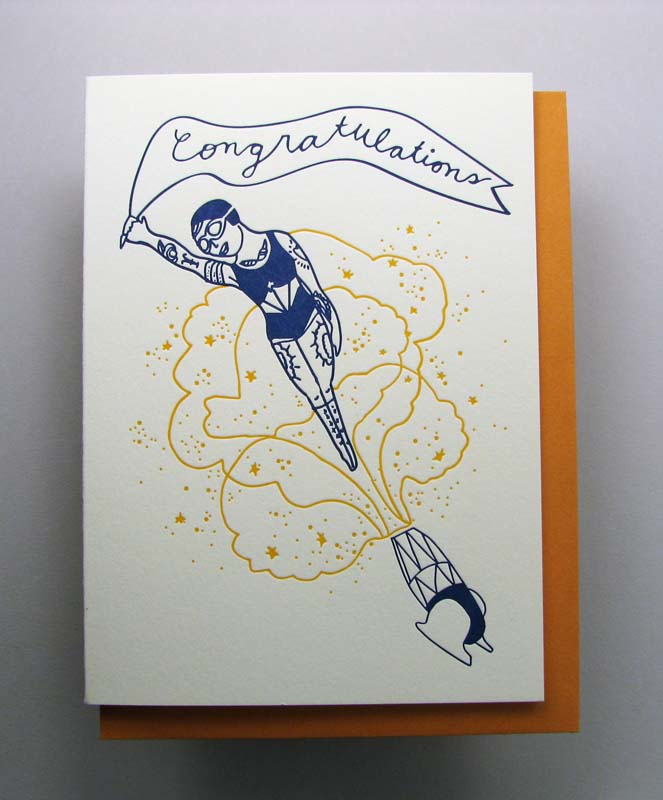Letterpress congratulations card - shooting out of canon- by Wolf and Wren Press