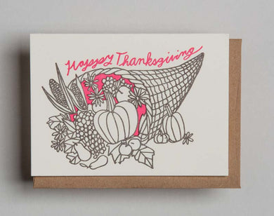 Letterpress Cornucopia Thanksgiving card  by Wolf and Wren Press