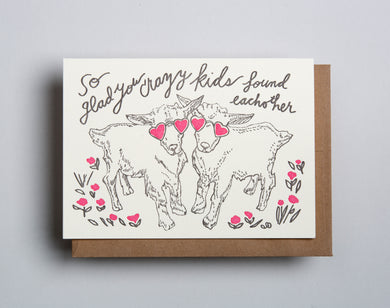 Letterpress wedding card by Wolf and Wren Press- crazy kids