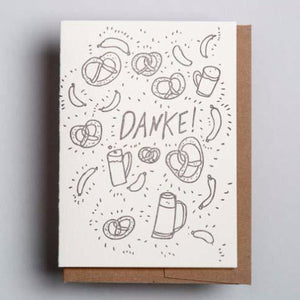 Letterpress thank you card -Danke- by Wolf and Wren Press
