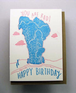 Letterpress Birthday card by Wolf and Wren Press- You are rad, Geyser