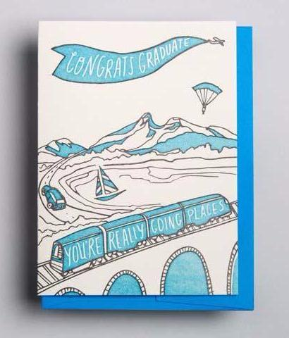 Letterpress Graduation card by Wolf and Wren Press