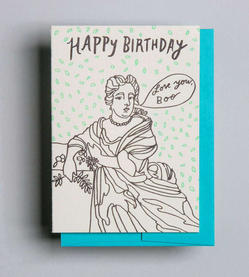Letterpress Birthday card by Wolf and Wren Press- Happy Birthday Boo