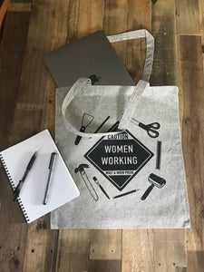 """Caution- Women Working"" tote"