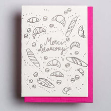 Letterpress thank you card  by Wolf and Wren Press- Merci Beaucoup