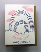 Letterpress birthday card by Wolf and Wren Press- You are Magnificent- Double Rainbow