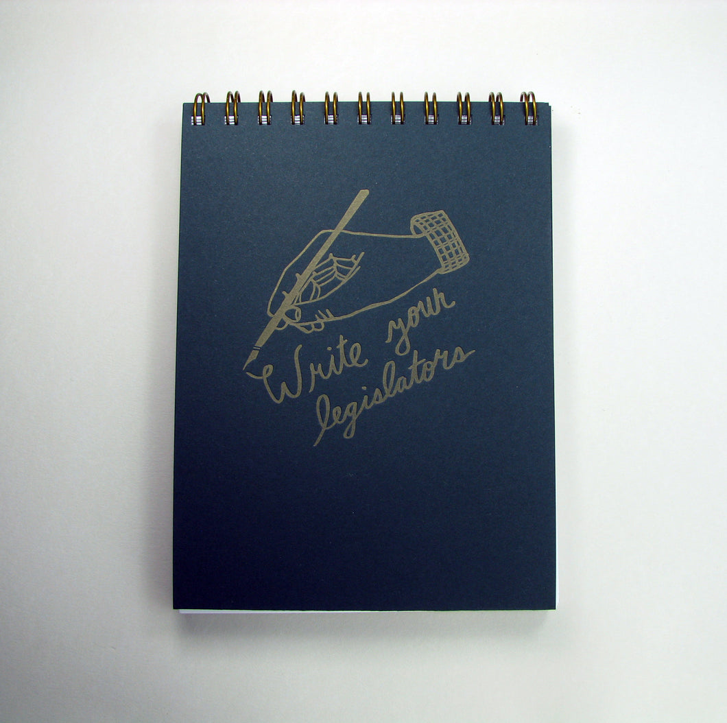 Write Legislators/Write Love Letters Notebook (dark green/light green)