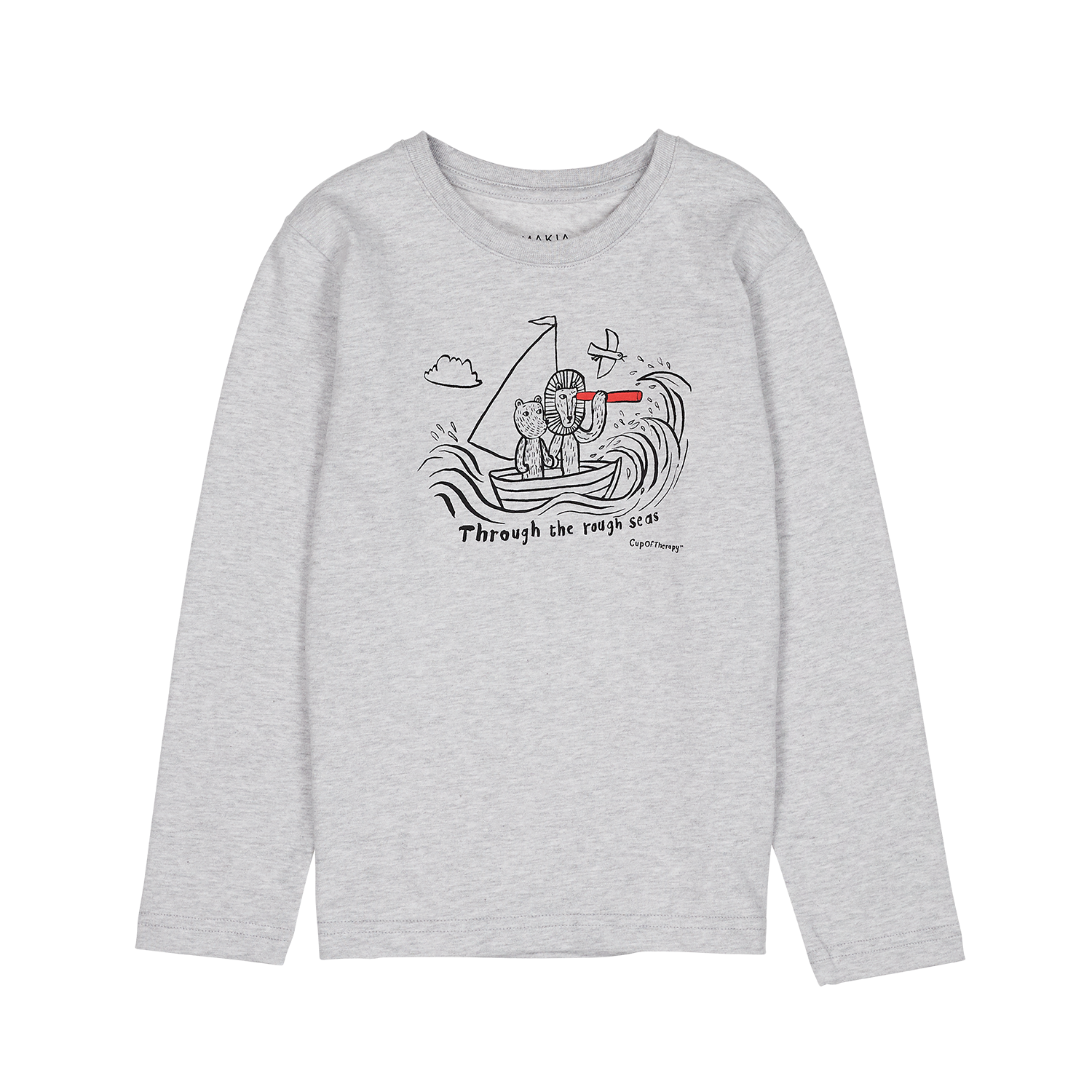 MAKIA x CupOfTherapy RoughSeas long sleeve children light grey