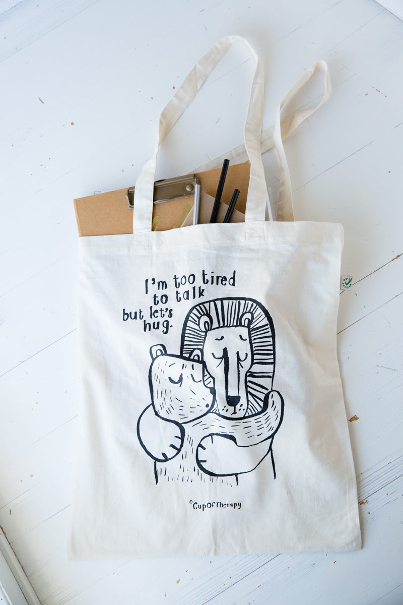 I'm too tired to talk 100% organic cotton Canvas Bag