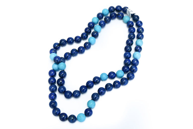 Turquoise & Lapis Bead Necklace