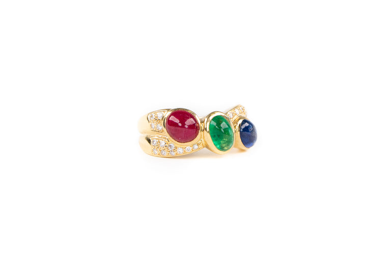 Sapphire, Emerald and Ruby Ring