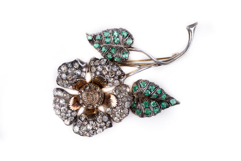 Vintage Rose Cut Diamond and Emerald Flower Brooch