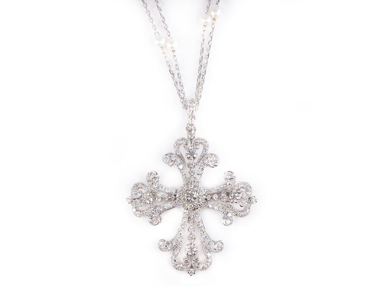 Diamond Pearl Cross Necklace / Brooch
