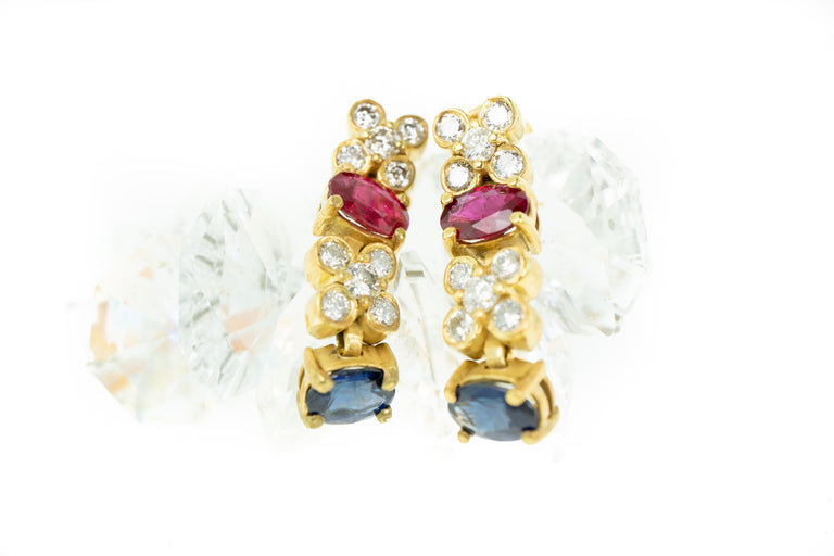 Ruby, Sapphire and Diamond Earrings