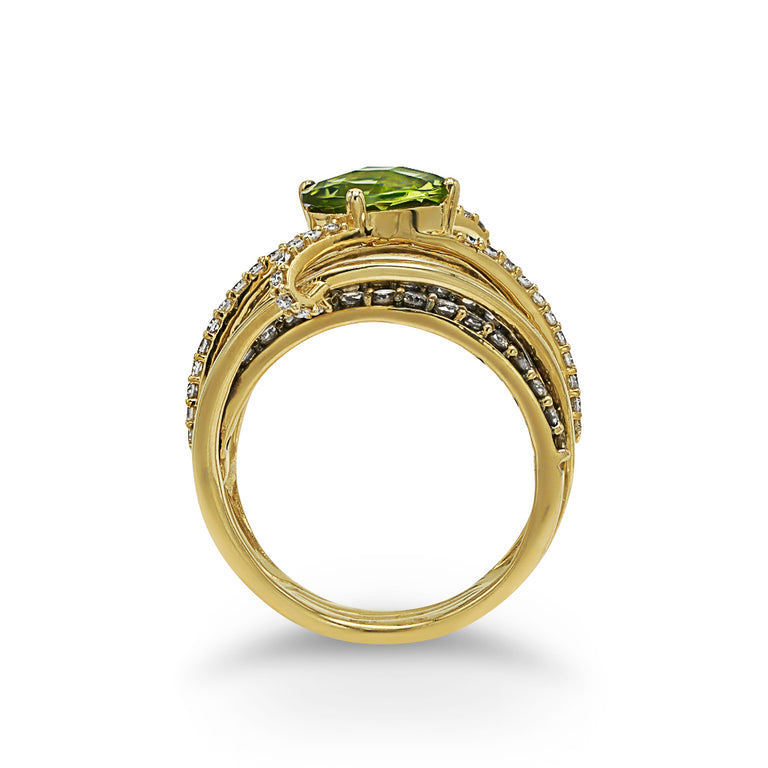Asymmetrical Peridot Ring