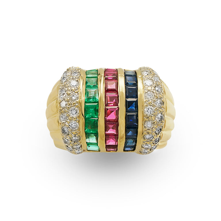 Multicolor Diamond Stripe Ring