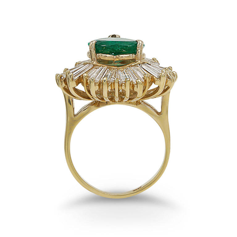 Heart Emerald and Baguette Diamond Ring