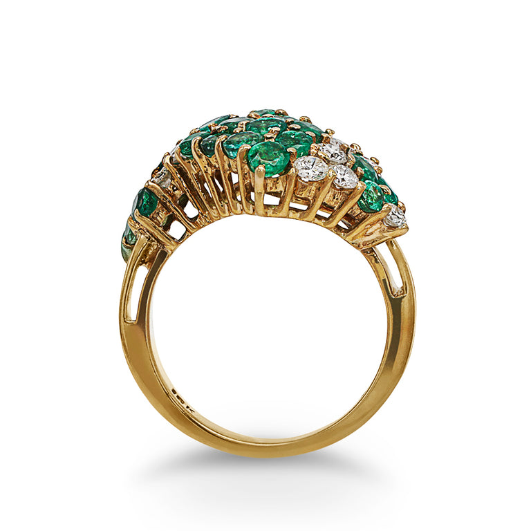Emerald and Diamond Zigzag Ring