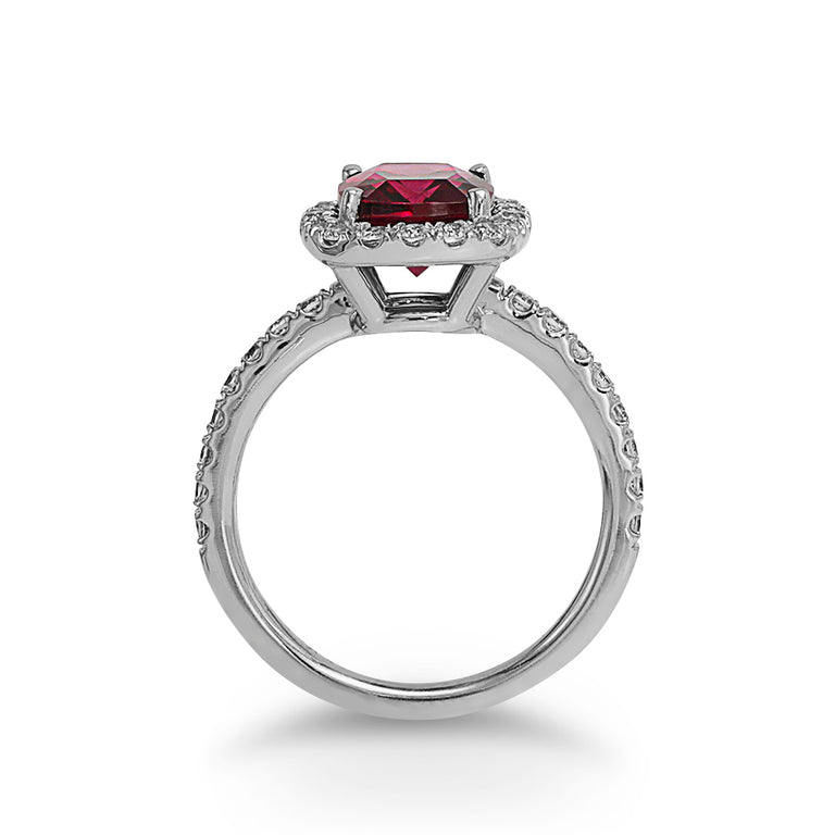 Cushion-cut Garnet Ring
