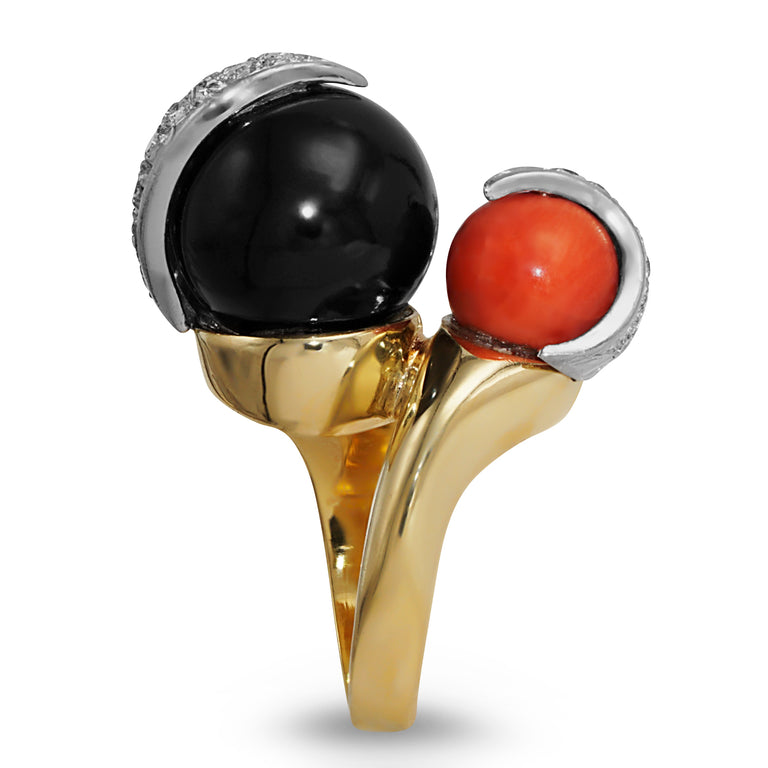 Red and Black Coral Sphere Ring