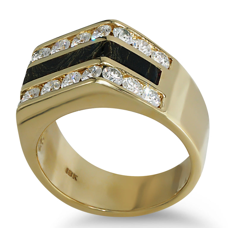 Black Coral and Diamond Ring