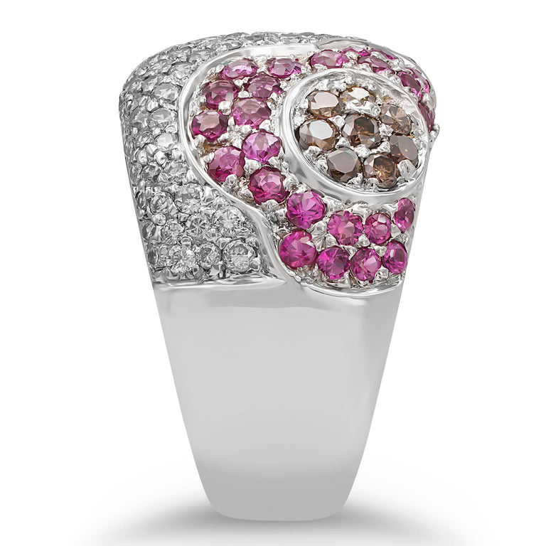 Pink Sapphire and Diamond Floral Ring