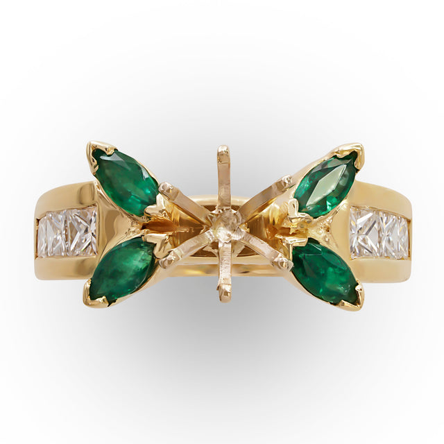 Marquise Emerald Semi-Mount Ring