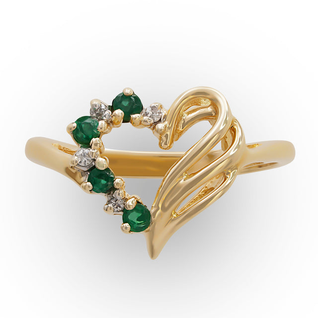 Heart-shaped Emerald Ring