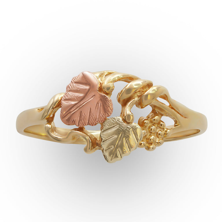 Tri-color Gold Leaf Ring