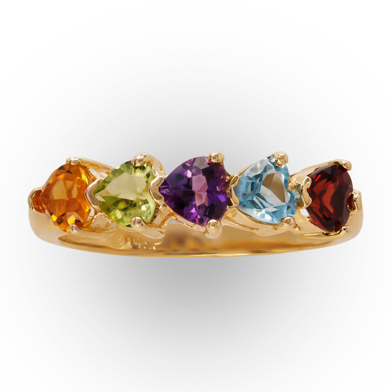 Heart-Shaped Multicolored Stones Ring